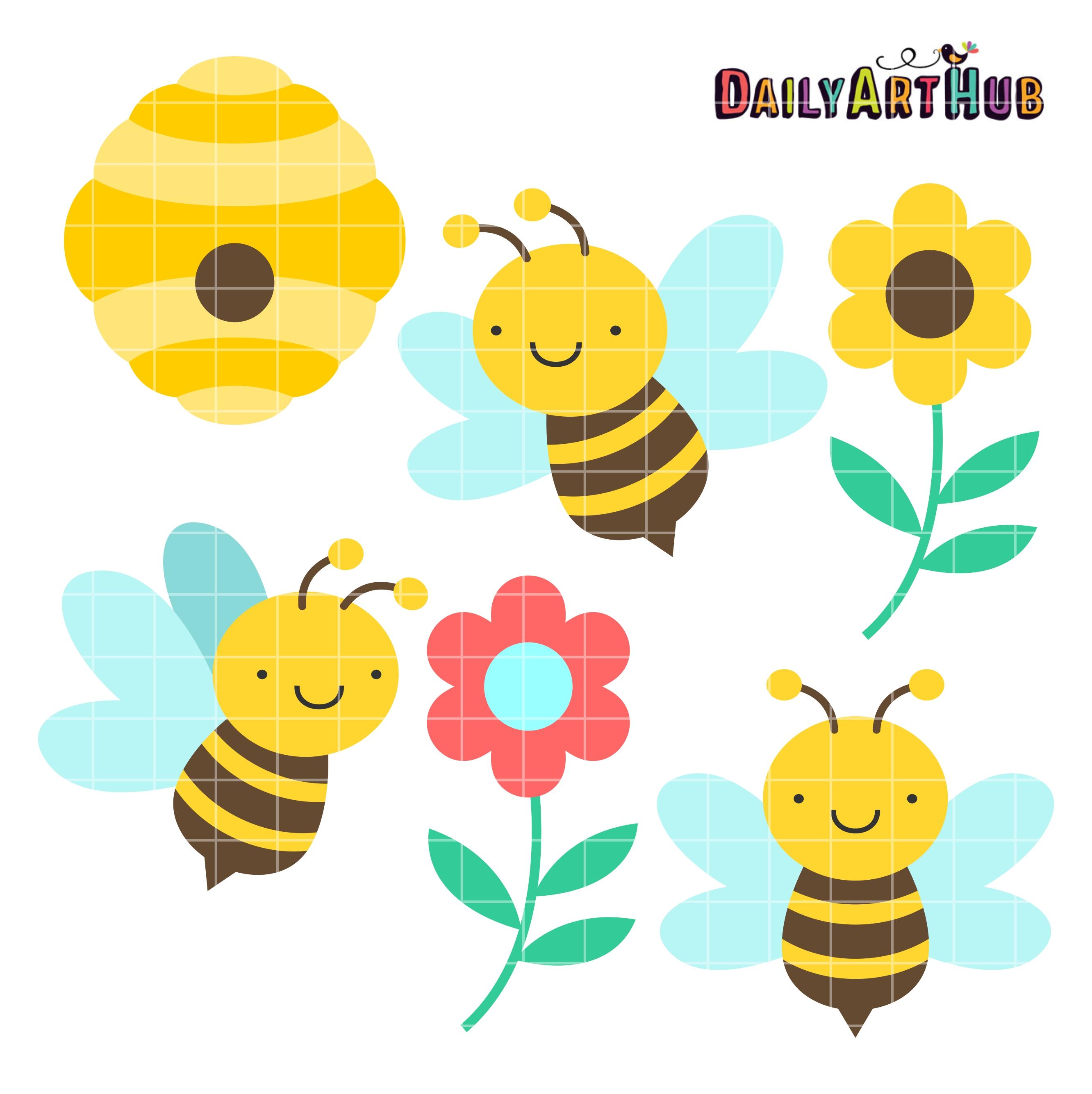 Cute Honey Bees Clip Art Set.