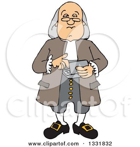 Clipart of a Cartoon Benjamin Franklin Using a Calculator.