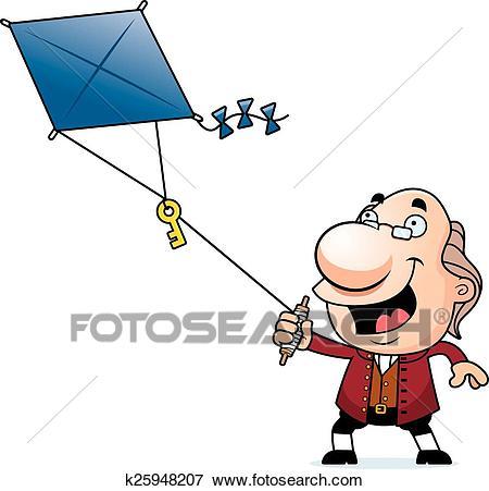 Cartoon Ben Franklin Kite Clip Art.
