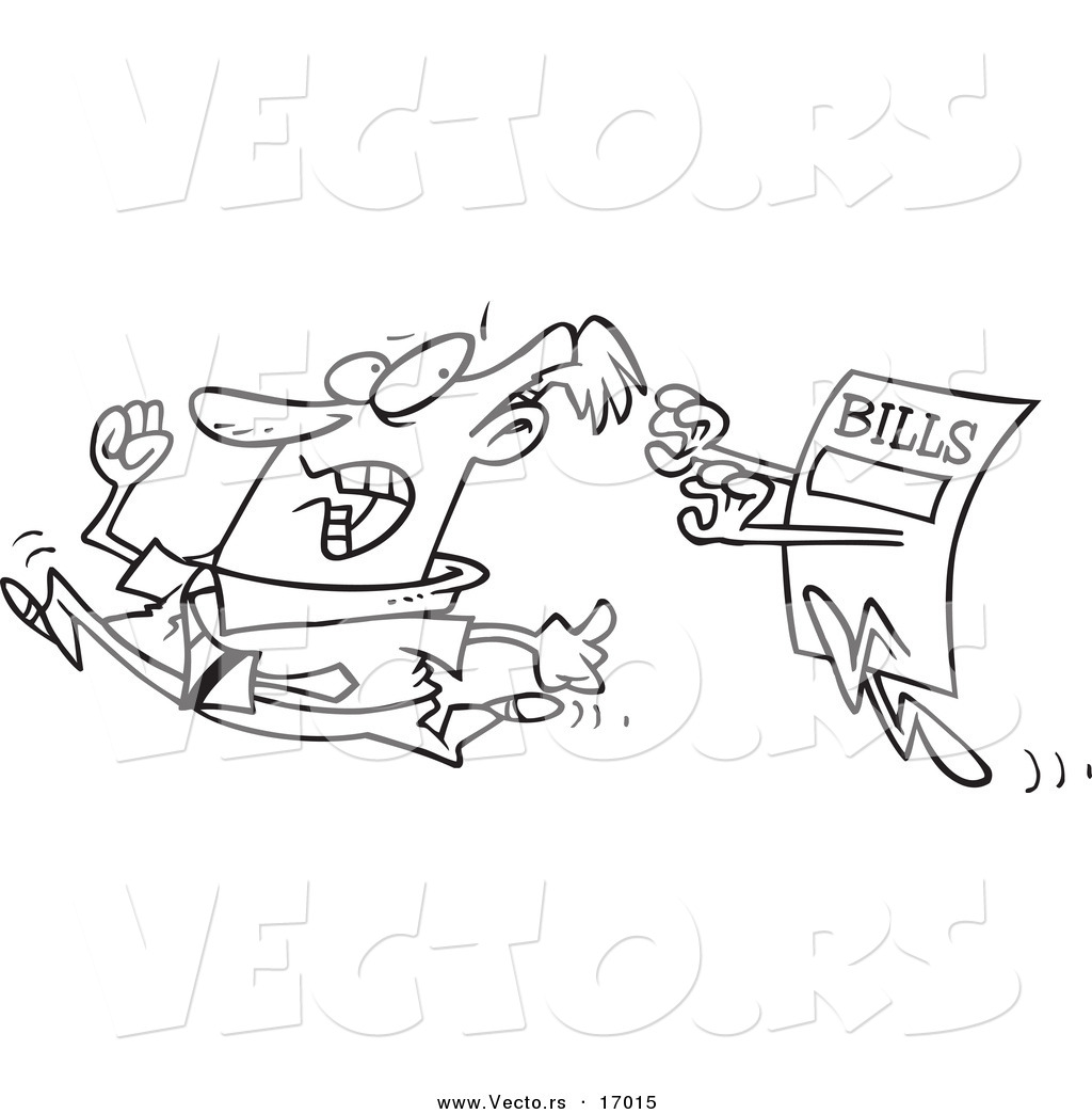 clipart of bills chasing a man #11