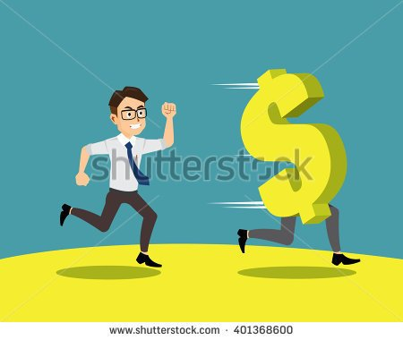 clipart of bills chasing a man #1