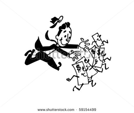 clipart of bills chasing a man #12