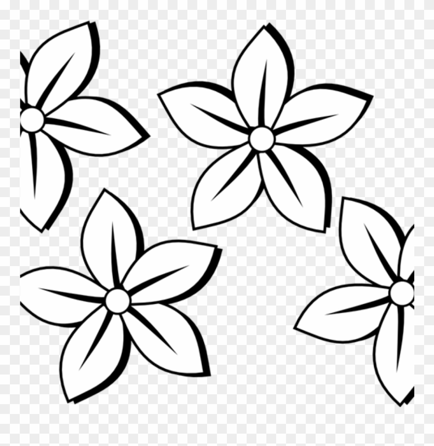 Flower Clipart Black And White Birthday Clipart Hatenylo.
