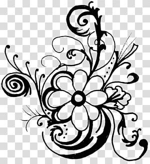 BLACK AND WHITE S, white flowers illustration transparent background.
