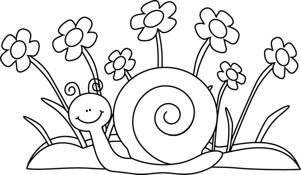 Flower black and white black and white snail and flowers clip art.