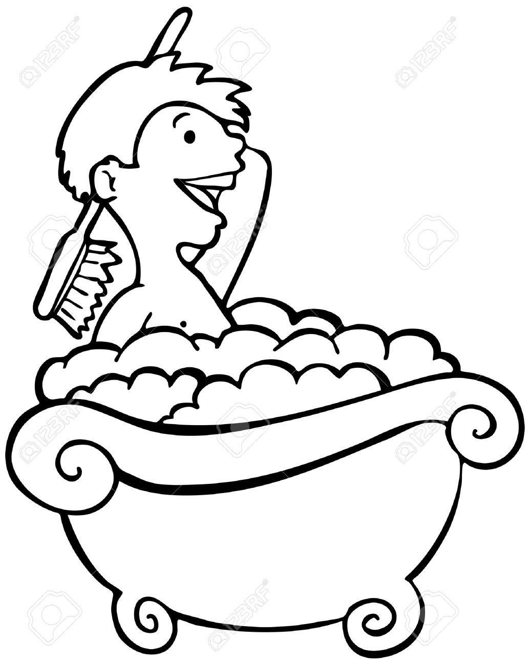 Kids Shower Clipart Black And White.