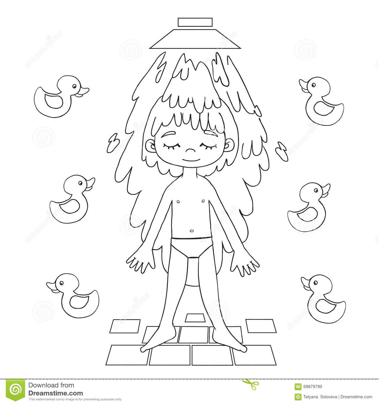 Boy Showering Stock Illustrations.
