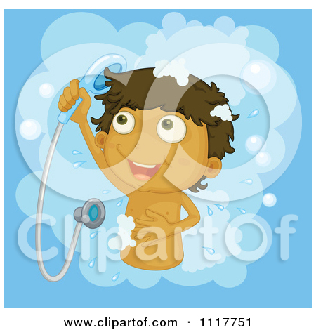 Clipart Of Boy Taking A Shower.