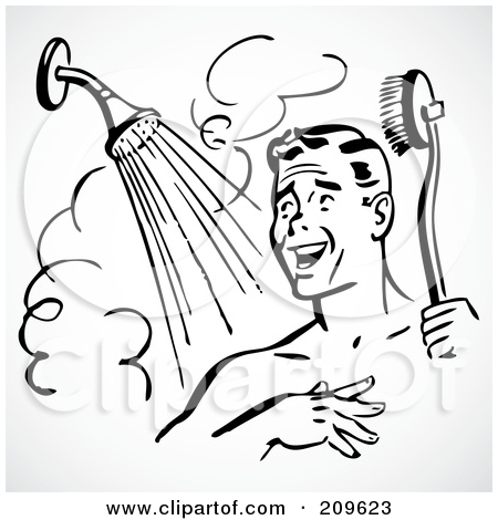 Clipart Of Black Boy Taking A Shower.