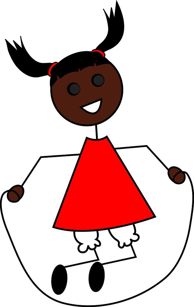 Clip Art Illustration of a Cartoon Little Black Girl Jumpi….