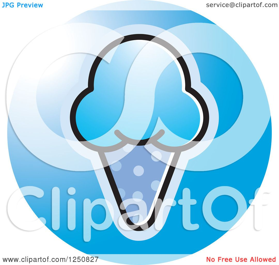 Clipart of a Blue Waffle Ice Cream Cone Icon.