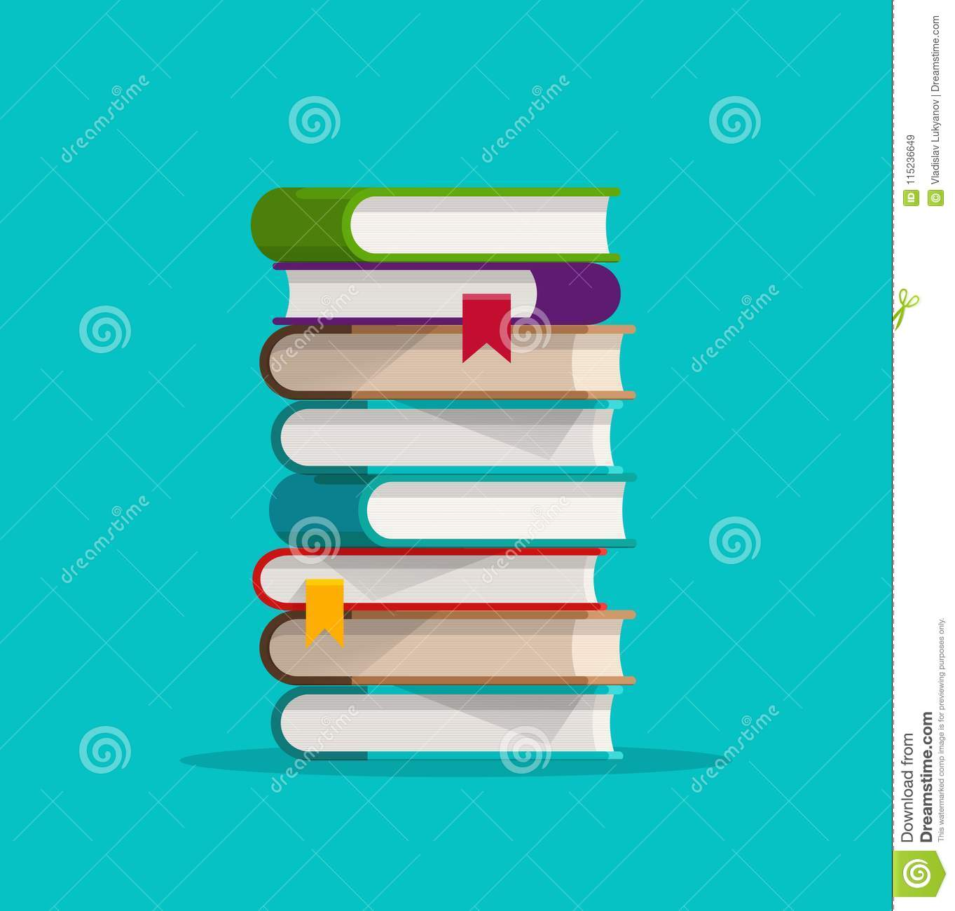 Books Stack Or Pile Vector Illustration, Flat Cartoon Paper Book.