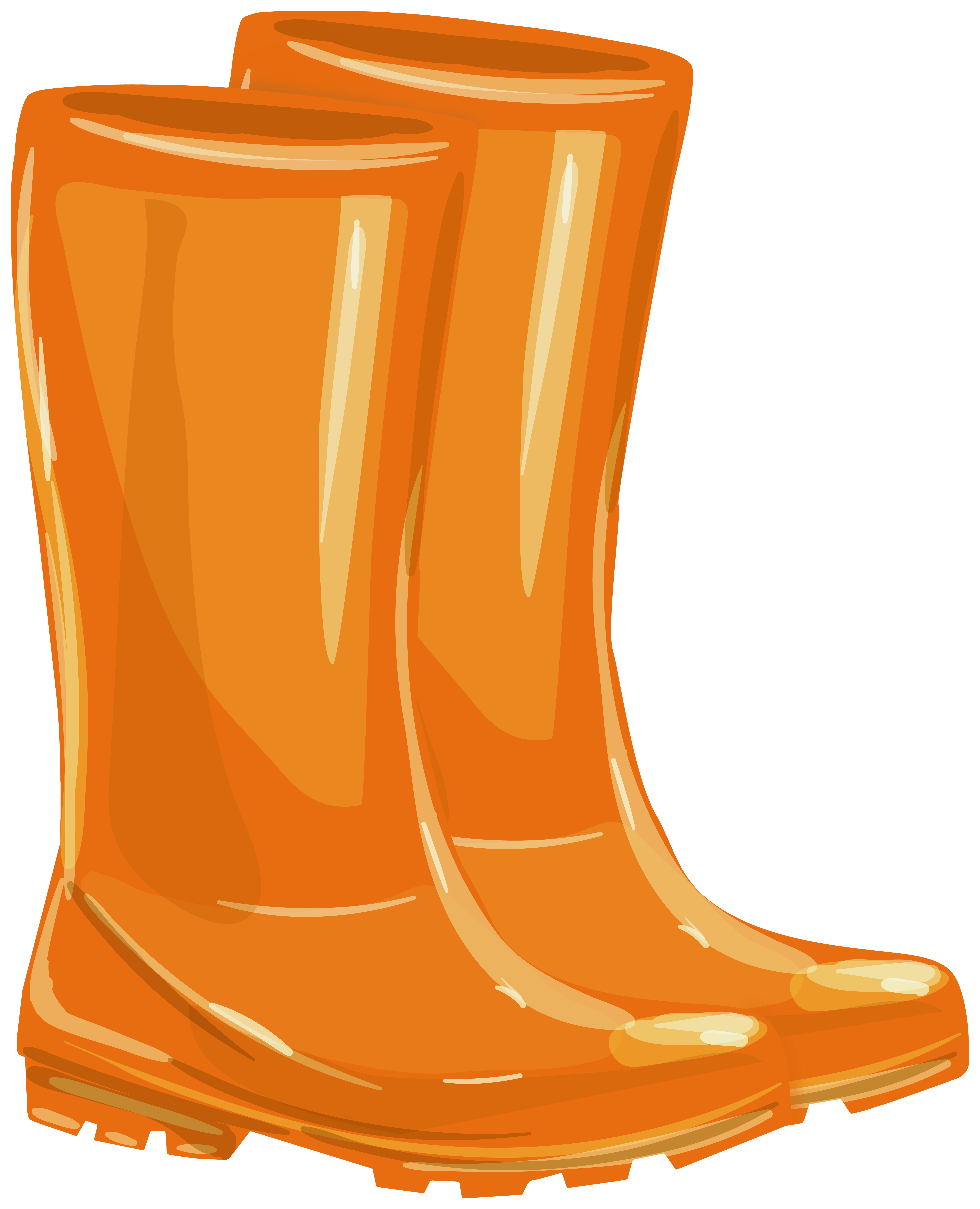 Orange Rubber Boots PNG Clipart.