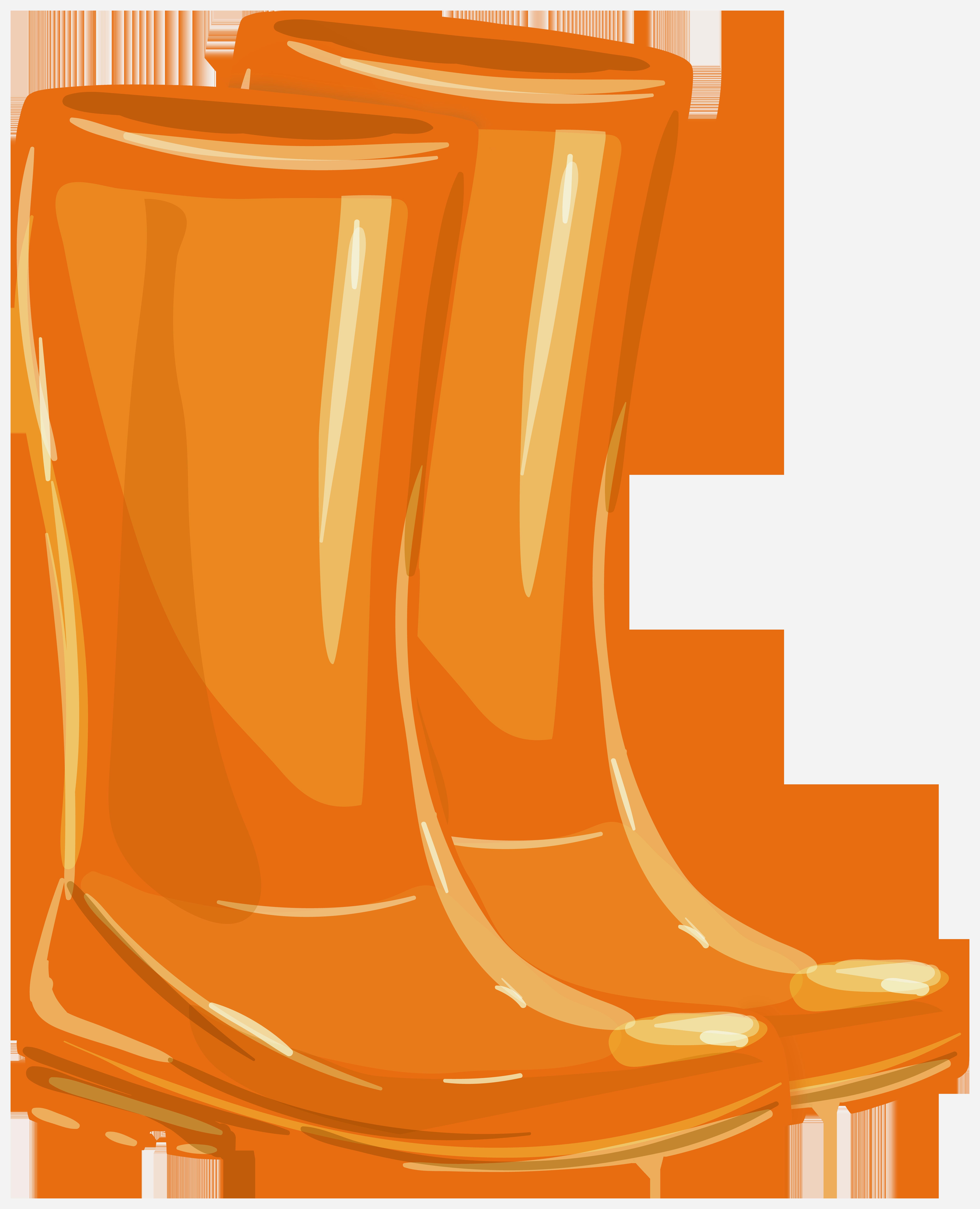 Orange Rubber Boots PNG Clipart.