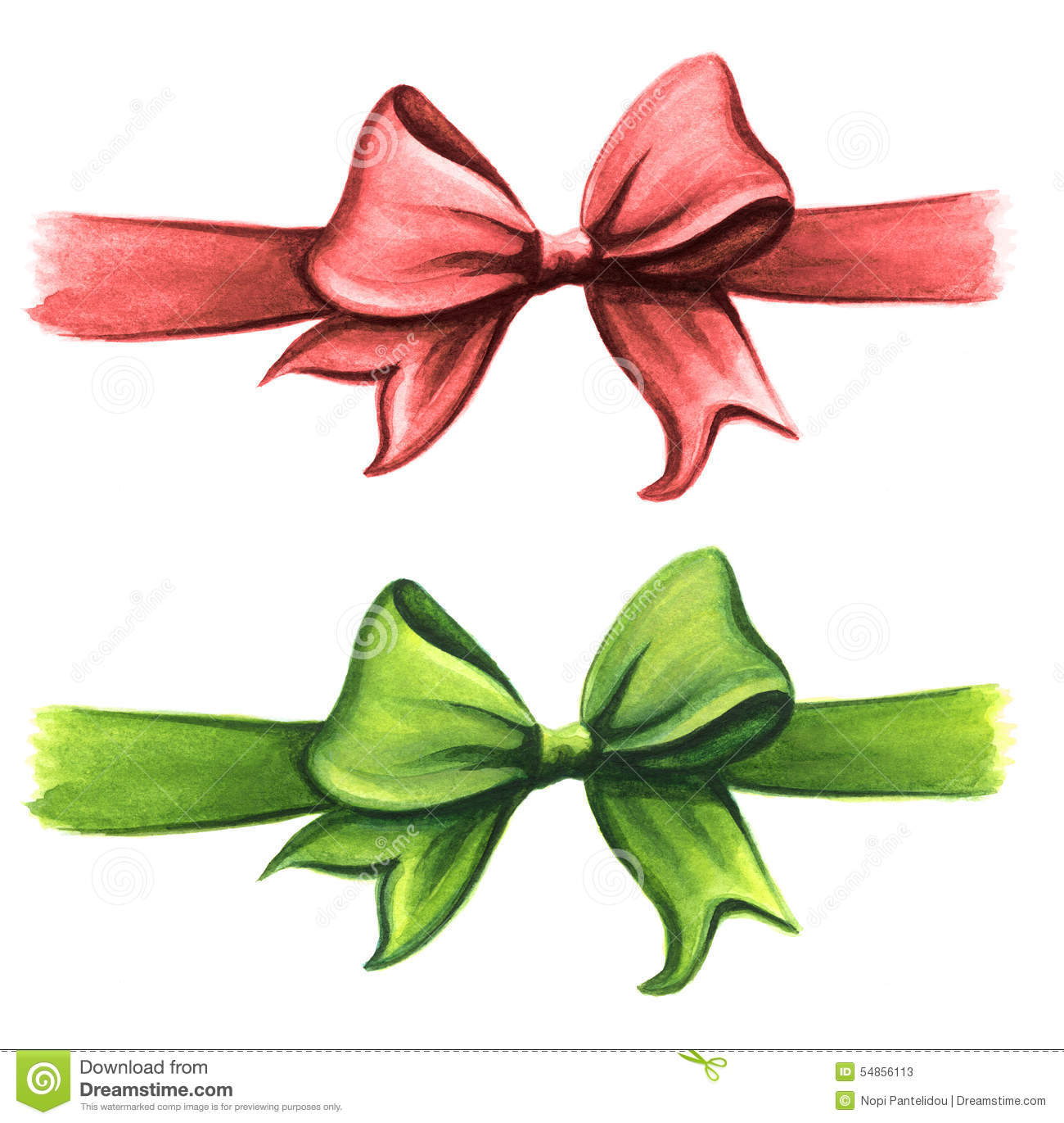 Red And Green Gift Ribbon Bow Clip Art Set Stock Illustration.