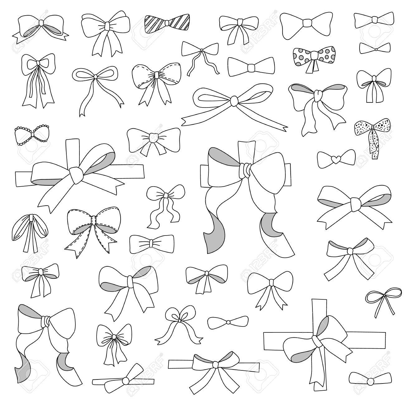 doodle set of bows, ribbons.
