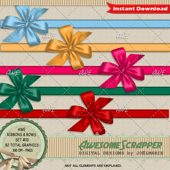 Ribbons and Bows #10, Digital Clipart by AwesomeScrapper.