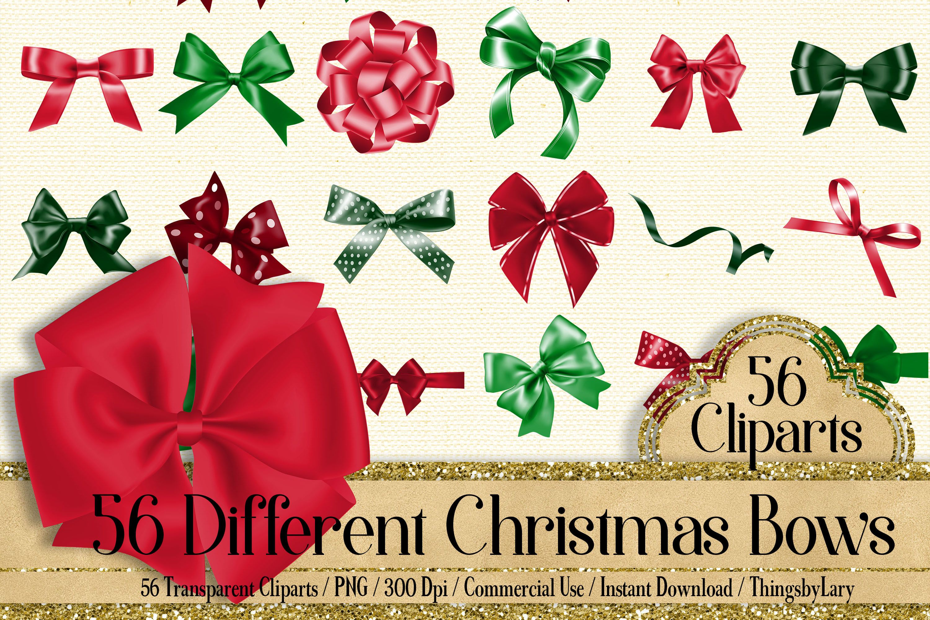 56 Christmas Bows and Ribbons Clip Arts PNG Transparent.
