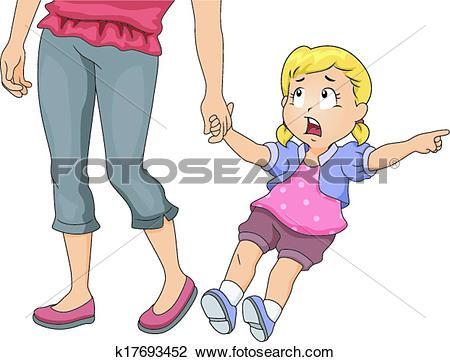 Clipart of Mom Pulling Girl k17693452.
