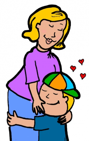 Clipart Boy And Mom Hugging.