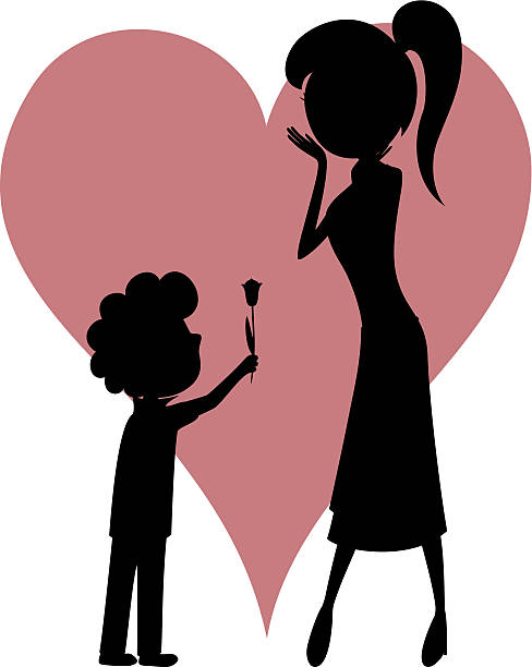 Little Boy Giving Flower To His Mother Clip Art, Vector Images.