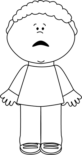 Black and White Scared Little Boy.
