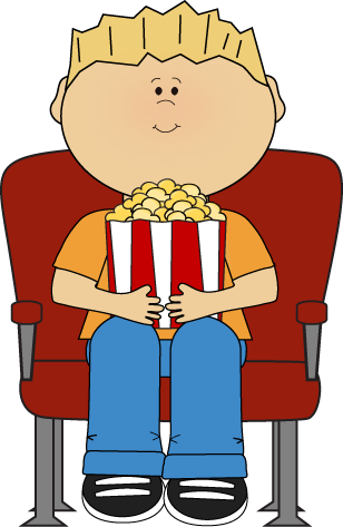 Clipart Of Boy Eating Popcorn.