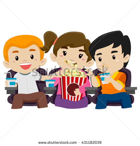 Eating Popcorn Stock Images, Royalty.