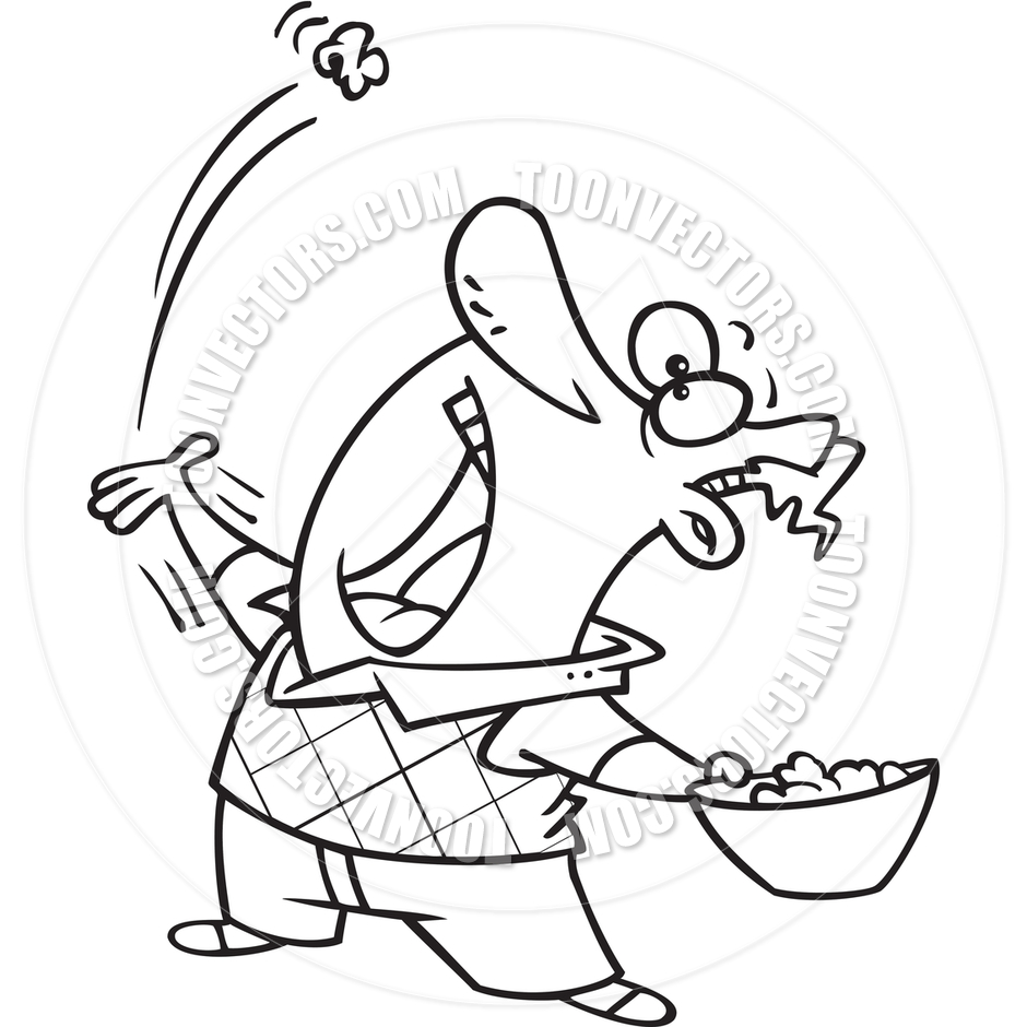 clipart of boy eating popcorn #3