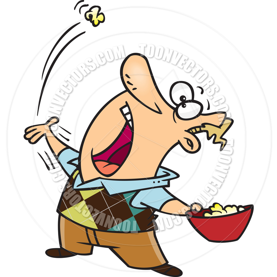 Person Eating Popcorn Clipart.
