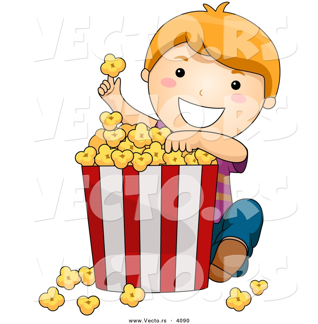 clipart of boy eating popcorn #14