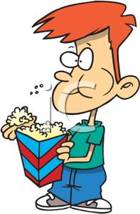 clipart of boy eating popcorn #17