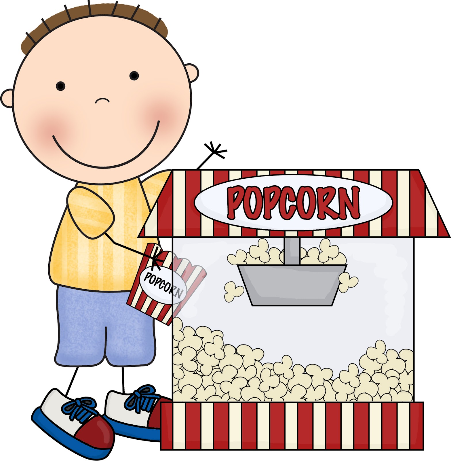 clipart of boy eating popcorn #10