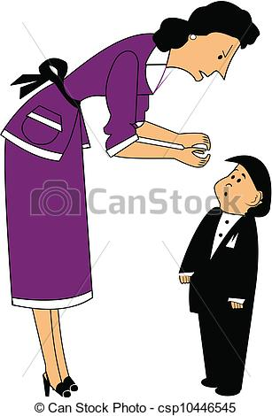 Clipart Of Boy Looking At Mom.