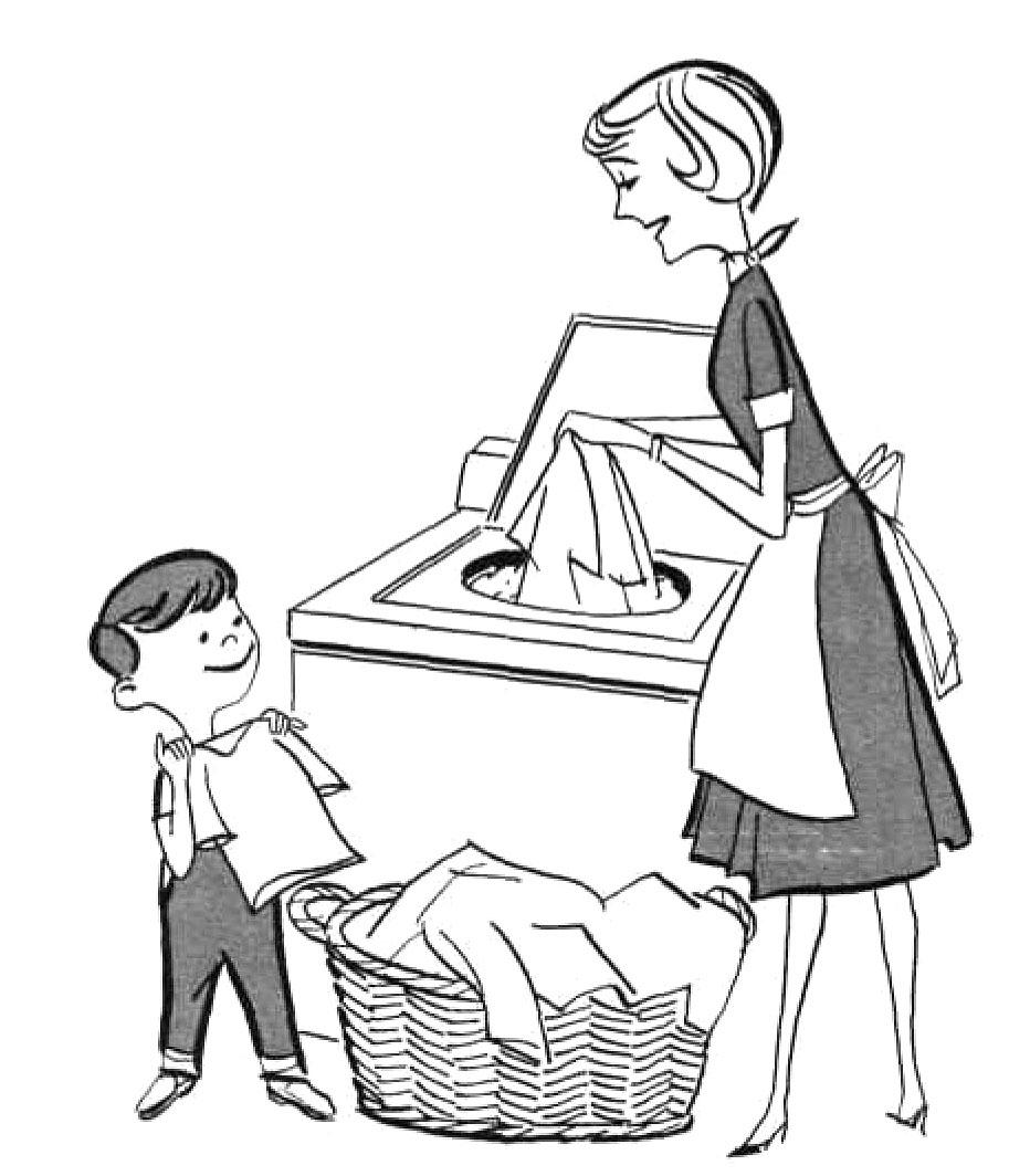 Boy Helping Mom Clipart.