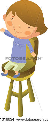 Clipart of Boy sitting on chair k11016034.