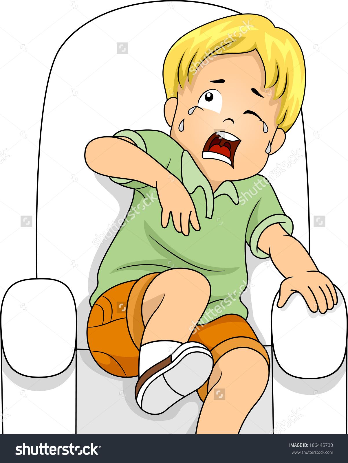 Illustration Little Boy Sitting On Chair Stock Vector 186445730.