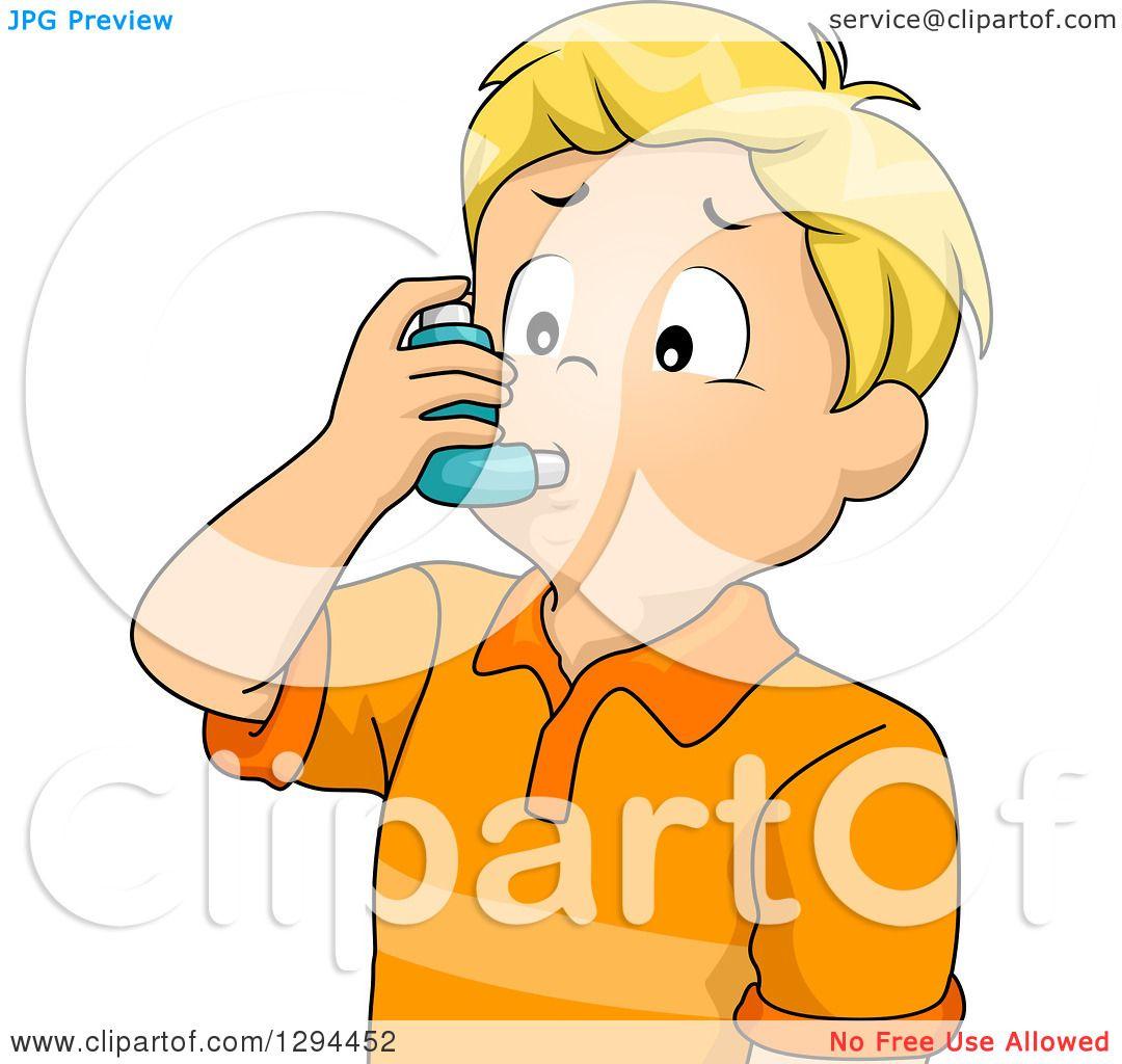 Clipart of a Blond White Boy Using an Asthma Inhaler.