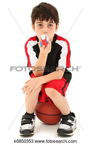 Clipart Of Boy With Inhaler.