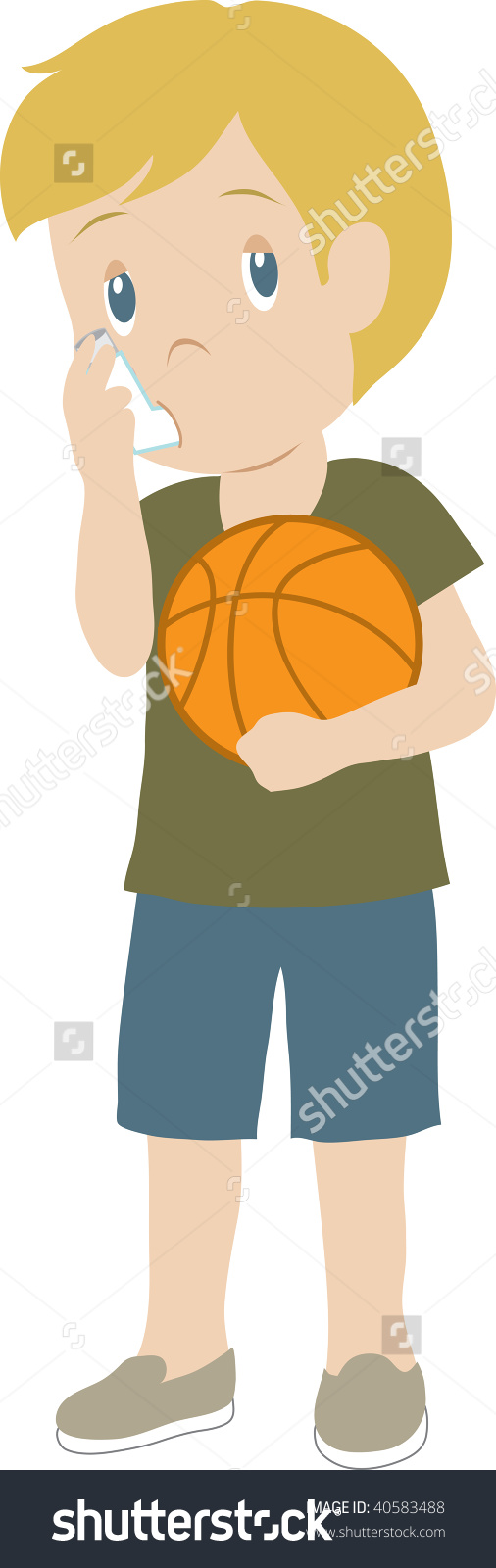clipart of boy with inhaler #1