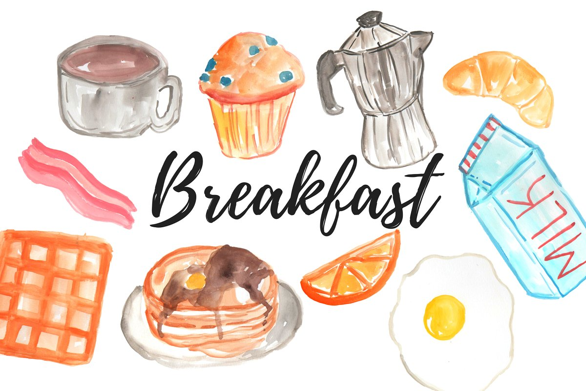 Watercolor Food Breakfast clipart.