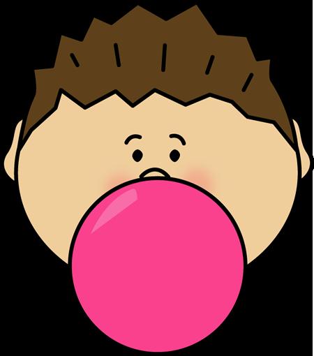 Kid Blowing Bubble Gum Clipart.