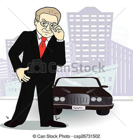 Businessman and car. Rich man in the city. Vector.