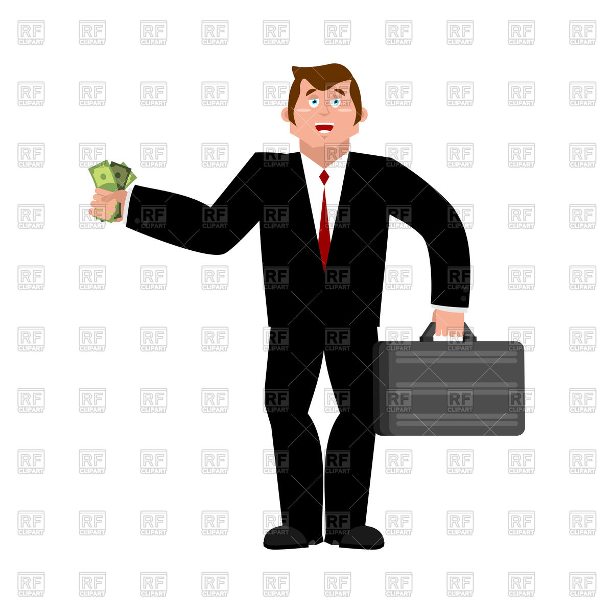 Businessman and money Stock Vector Image.