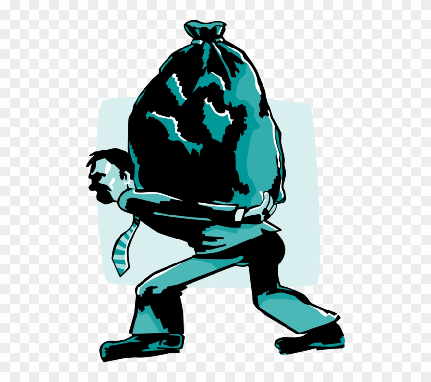 Vector Illustration Of Businessman Carrying Garbage.
