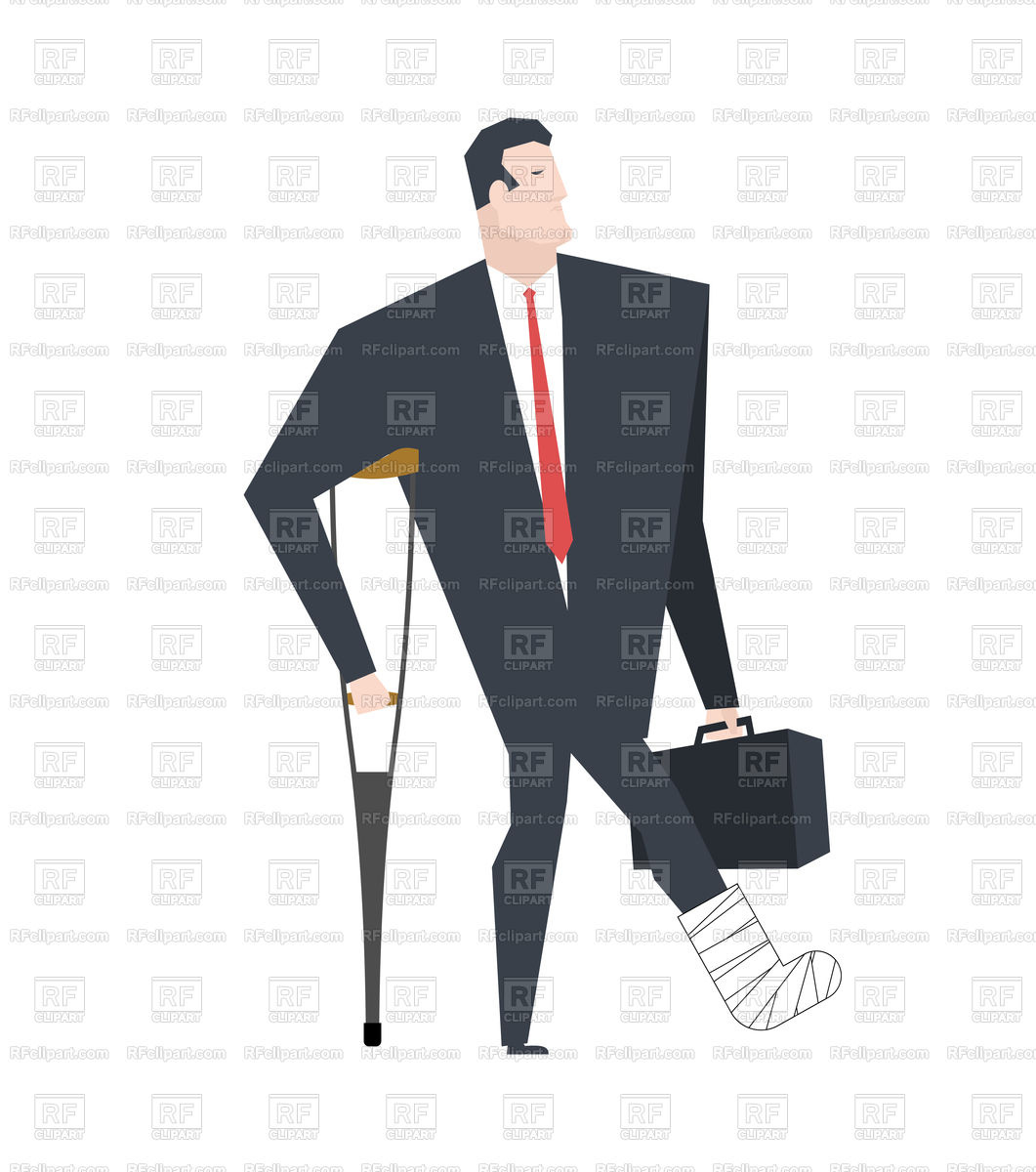 Businessman with crutch in plaster leg Stock Vector Image.