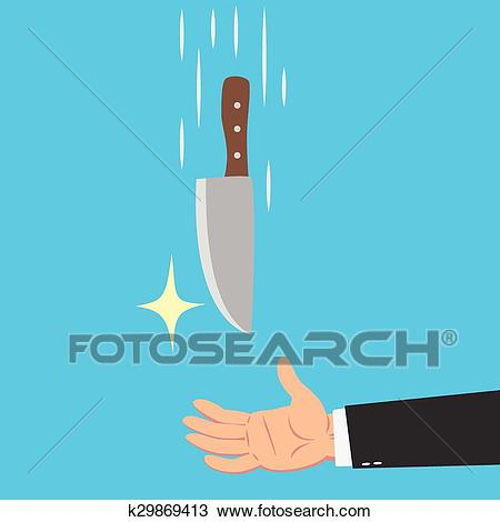 Hands of businessman catching a knife Clipart.