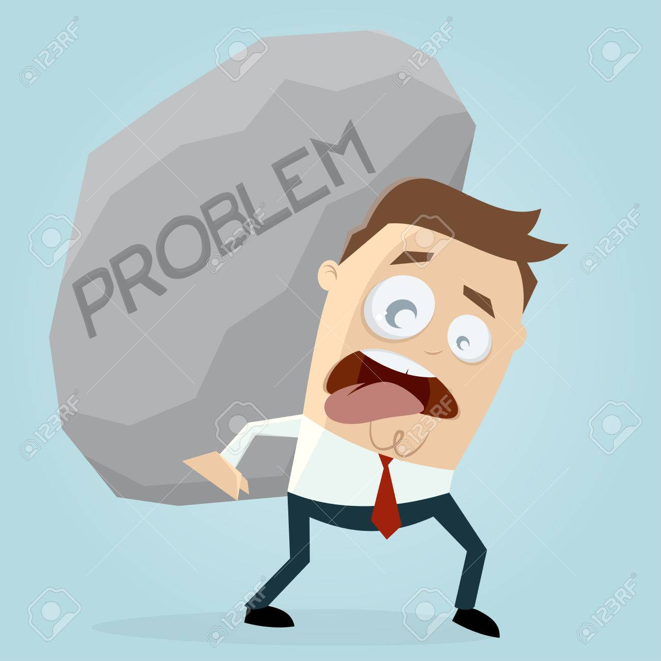 clipart of businessman carrying a big problem rock.