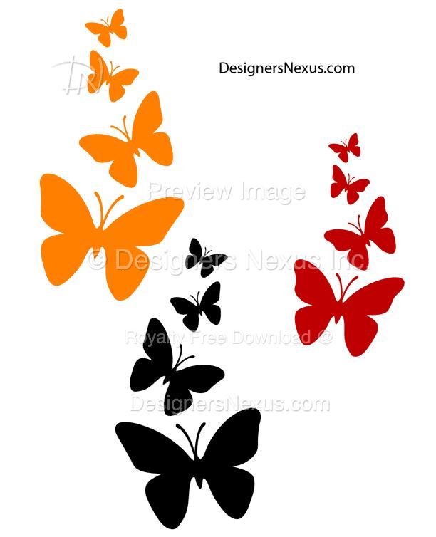 Vector Stencil Clipart: Butterflies 011.