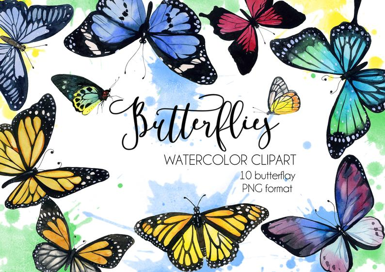 Watercolor butterfly, Clipart Butterflies,.